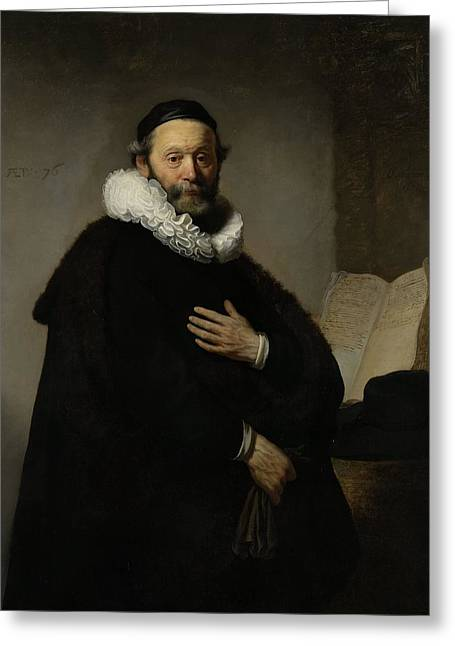 Fur Collar Greeting Cards - Portrait Of Johannes Wtenbogaert, 1633 Oil On Canvas Greeting Card by Rembrandt Harmensz. van Rijn