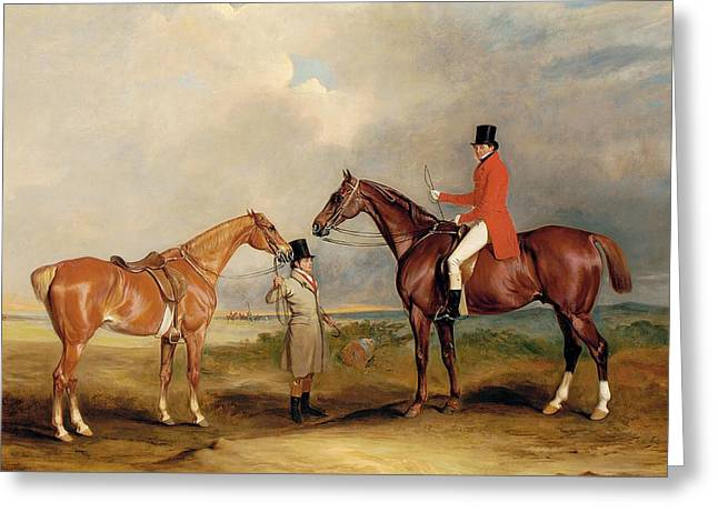 Equestrianism Greeting Cards - Portrait of John Drummond on a hunter with a groom holding his second horse Greeting Card by John E Ferneley