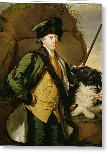 Fur Trim Greeting Cards - Portrait Of John Whetham Of Kirklington 1731-81, 1779-1780 Oil On Canvas Greeting Card by Joseph Wright of Derby