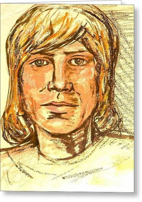 Sizes Pastels Greeting Cards - Portrait of Justin Hayward 3 Greeting Card by Joan-Violet Stretch