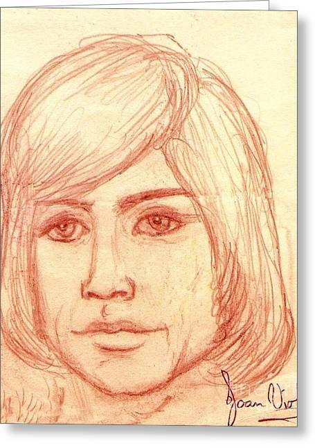 Moody Pastels Greeting Cards - Portrait of Justin Hayward 4 Greeting Card by Joan-Violet Stretch