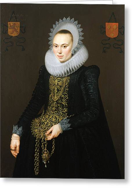 Embroidery Greeting Cards - Portrait Of Justina Van Teylingen, 1616 Oil On Panel See 307901 For Pair Greeting Card by Cornelis van der Voort