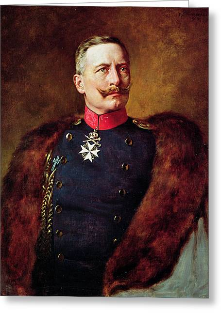 Moustache Greeting Cards - Portrait Of Kaiser Wilhelm Ii 1859-1941 Greeting Card by Bruno Heinrich Strassberger