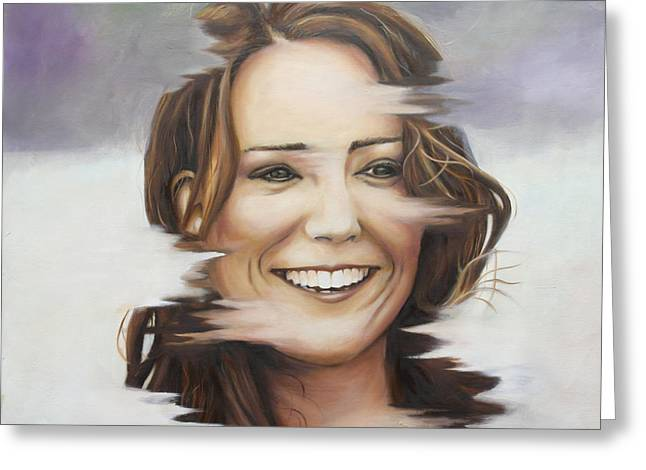 Kate Middleton Paintings Greeting Cards - Portrait of Kate Middleton Greeting Card by Ah Shui