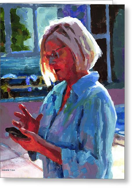 Cellphone Greeting Cards - Portrait of Kelly Greeting Card by Douglas Simonson