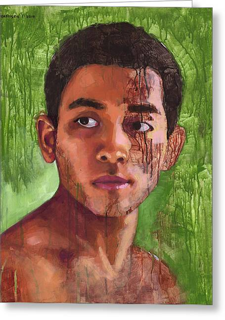 Drippy Paintings Greeting Cards - Portrait of Khanh Greeting Card by Douglas Simonson