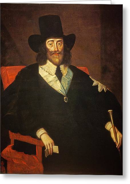 Dejected Greeting Cards - Portrait Of King Charles I 1625-49 At His Trial Oil On Canvas See Also 162534 & 245466 Greeting Card by Edward Bower