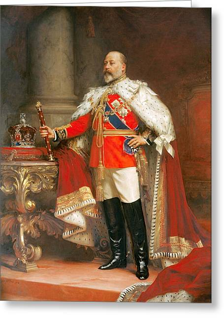 Historic England Paintings Greeting Cards - Portrait of King Edward VII Greeting Card by Fildes