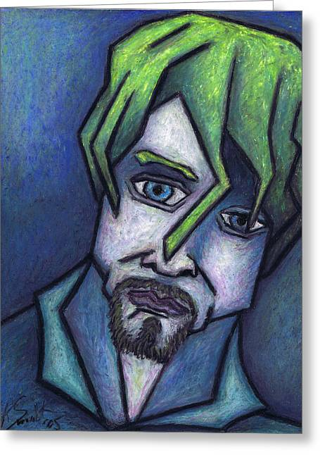 Sadness Pastels Greeting Cards - Portrait of Kurt Greeting Card by Kamil Swiatek