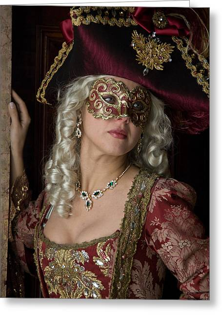 Duchess Greeting Cards - Portrait of lady in mask Greeting Card by Zina Zinchik