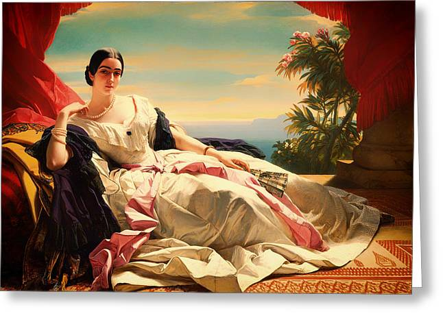 Lounge Paintings Greeting Cards - Portrait of Leonilla Greeting Card by Franz Winterhalter