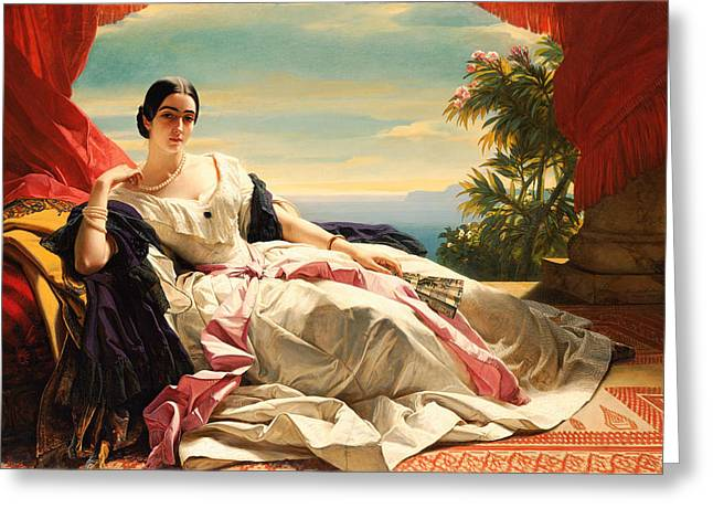 Franz Xaver Winterhalter Greeting Cards - Portrait of Leonilla Princess of Sayn-Wittgenstein-Sayn Greeting Card by Franz Xaver Winterhalter