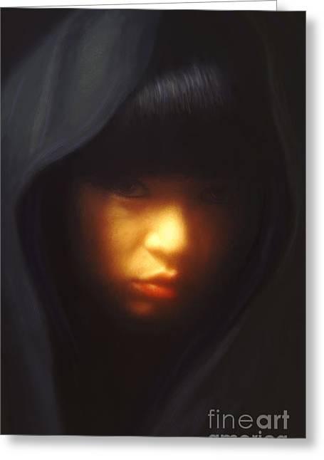 Portrait Of Li Greeting Card by Jeff Breiman
