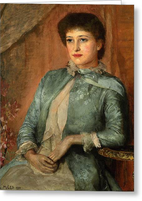 Clasped Greeting Cards - Portrait of Lillie Langtry Greeting Card by George Frank Miles