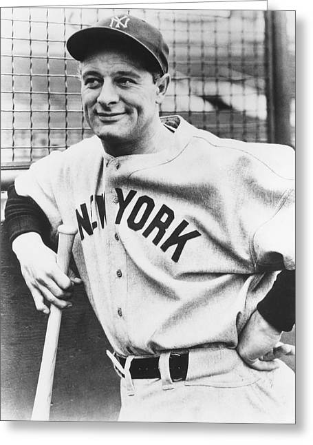 Baseball Shirt Greeting Cards - Portrait of Lou Gehrig Greeting Card by Underwood Archives