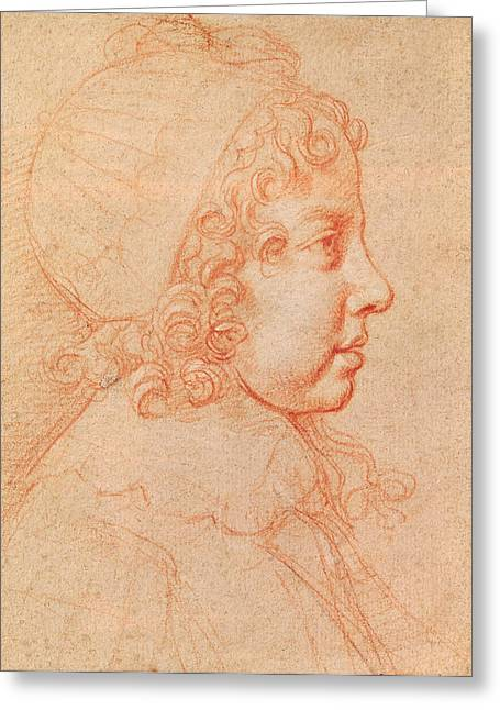 Portrait Of Louis Xiv As A Child Red Chalk On Paper Greeting Card by Philippe de Champaigne