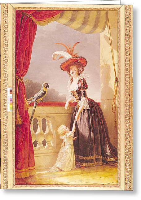 Princess Dress Greeting Cards - Portrait Of Louise-elisabeth De France 1727-59 Duchess Of Parma And Her Son Ferdinand 1751-1802 Greeting Card by Adelaide Labille-Guiard