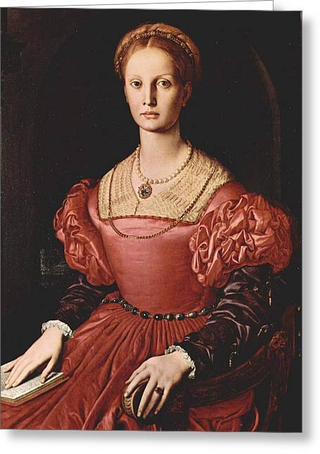 Lucretia Greeting Cards - Portrait of Lucretia Panciatichi Greeting Card by Bronzino