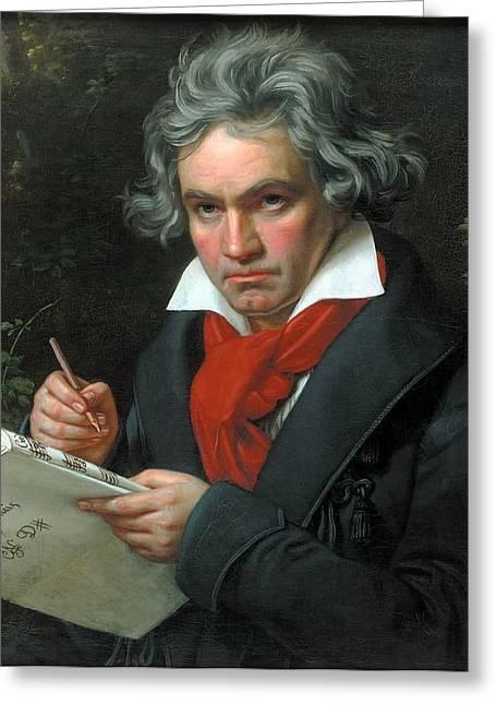 Haus Paintings Greeting Cards - Portrait of Ludwig van Beethoven  Greeting Card by Joseph Karl Stieler