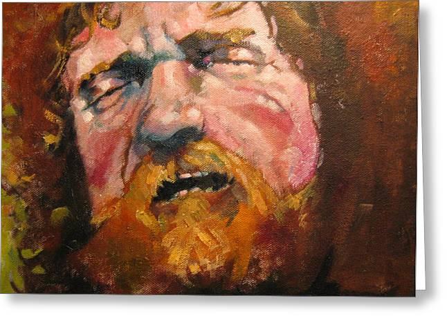 Irish Folk Music Greeting Cards - Portrait of Luke Kelly Greeting Card by Kevin McKrell