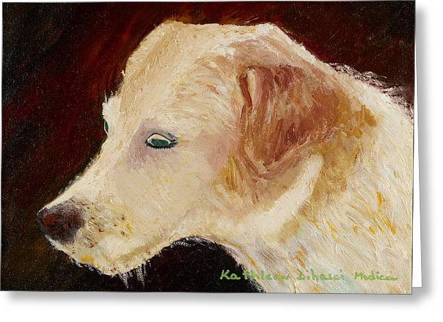 Beagle Puppies Print Greeting Cards - Portrait of Luke Greeting Card by KLM Kathel