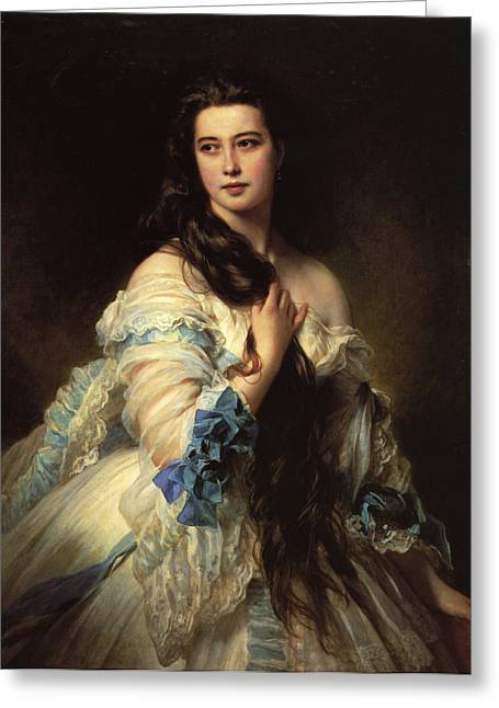 Franz Xaver Winterhalter Greeting Cards - Portrait of Madame Barbe de Rimsky-Korsakov Greeting Card by Franz Xaver Winterhalter