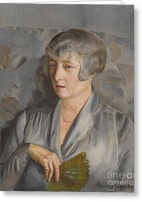 Orthodox Paintings Greeting Cards - Portrait of Madame Barthelemy with a Green Fan Greeting Card by Boris Grigoriev