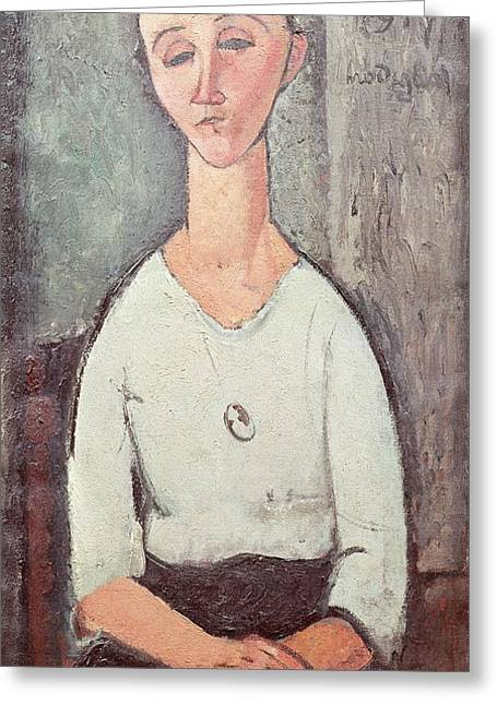 Miserable Greeting Cards - Portrait Of Madame Chakowska, 1917 Oil On Canvas Greeting Card by Amedeo Modigliani