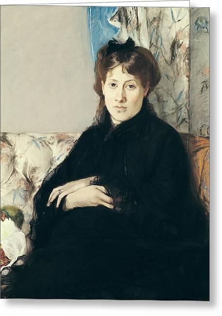 Edma Morisot Greeting Cards - Portrait Of Madame Edma Pontillon 1839-1921 1871 Pastel On Paper Greeting Card by Berthe Morisot