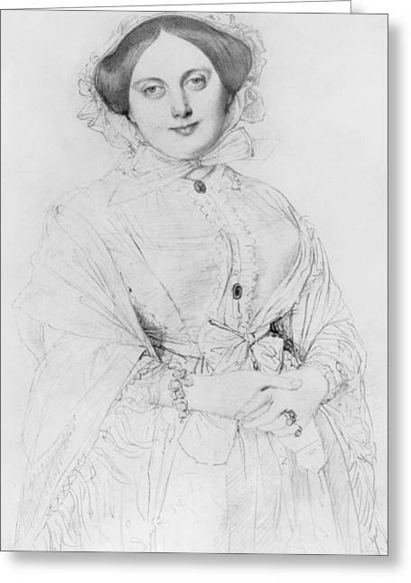 Pencil Sketch Drawings Greeting Cards - Portrait of Madame Ingres Greeting Card by Jean Auguste Ingres