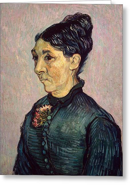 Post-impressionism Greeting Cards - Portrait of Madame Jeanne Lafuye Trabuc Greeting Card by Vincent Van Gogh