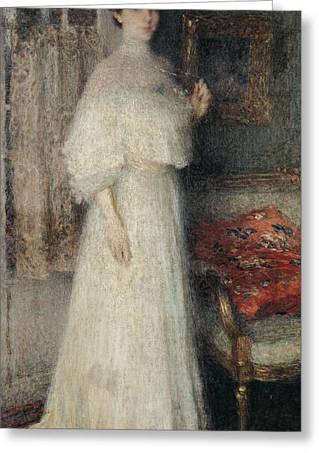 White Dress Greeting Cards - Portrait Of Madame Masson Oil On Canvas Greeting Card by Ernest-Joseph Laurent