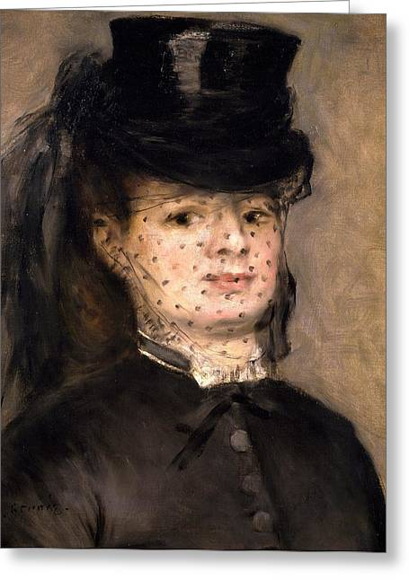 Black Veil Greeting Cards - Portrait of Madame Paul Darras Greeting Card by Pierre-Auguste Renoir