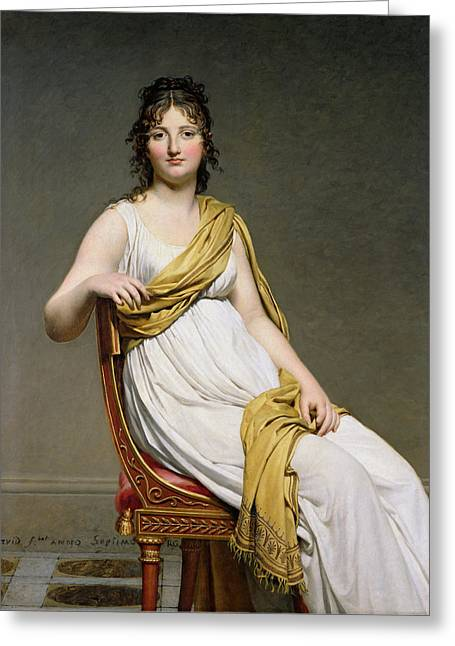 Rosy Greeting Cards - Portrait Of Madame Raymond De Verninac 1780-1827 1798-99 Oil On Canvas Greeting Card by Jacques Louis David