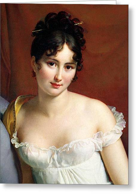Attractiveness Greeting Cards - Portrait of Madame Recamier  Greeting Card by Francois Pascal Simon Baron Gerard