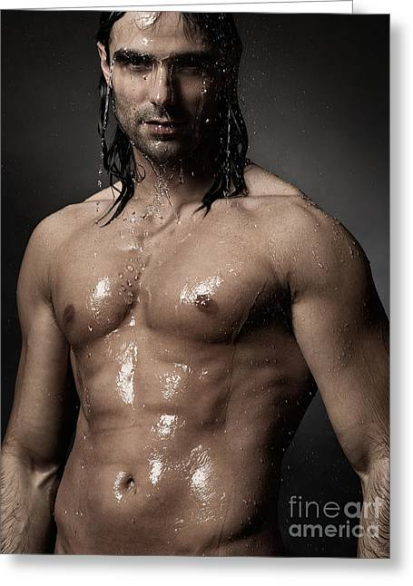 Unshaven Greeting Cards - Portrait of man with wet bare torso standing under shower Greeting Card by Oleksiy Maksymenko