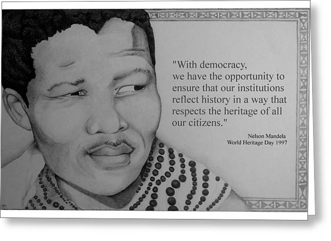 Civil Rights Drawings Greeting Cards - Portrait of Mandela 1950 Greeting Card by Corey Habbas