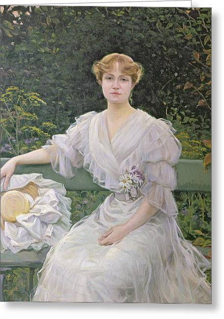 White Dress Paintings Greeting Cards - Portrait of Marguerite Durand Greeting Card by Jules Cayron