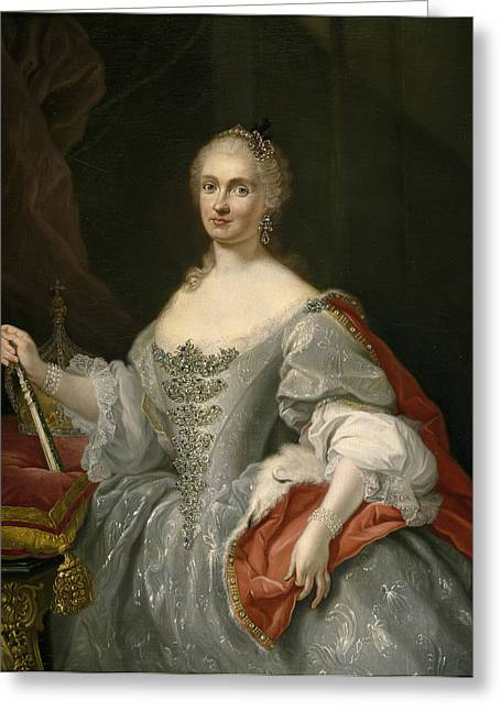 Neapolitan Greeting Cards - Portrait of Maria Amalia of Saxony as Queen of Naples overlooking the Neapolitan crown Greeting Card by Giuseppe Bonito