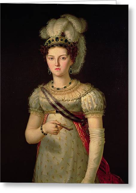 Portrait Of Maria Josephine Amalia Of Saxony Greeting Card by Francisco Lacoma