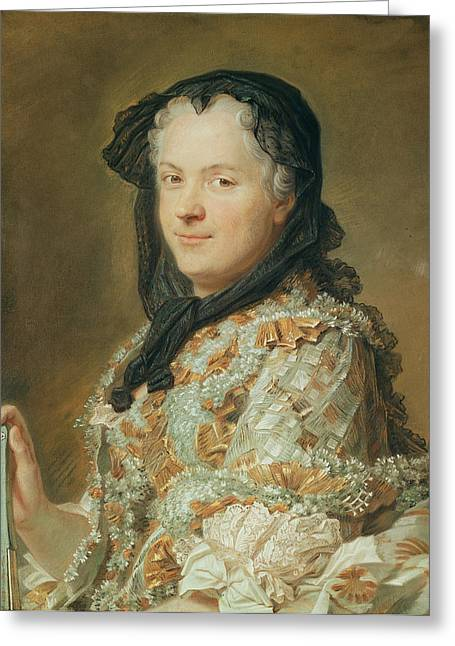 Half Greeting Cards - Portrait Of Maria Leszczynska, Queen Of France And Navarre, 1744-48 Pastel Greeting Card by Maurice Quentin de la Tour