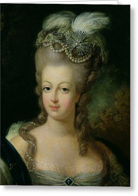 Hair Styles Greeting Cards - Portrait of Marie Antoinette de Habsbourg Lorraine Greeting Card by French School