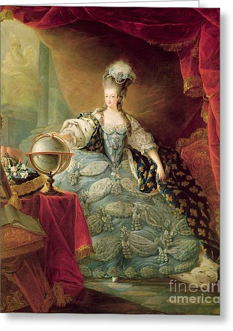 Embroidered Dress Greeting Cards - Portrait of Marie Antoinette Queen of France Greeting Card by Jean-Baptise Andre Gautier DAgoty