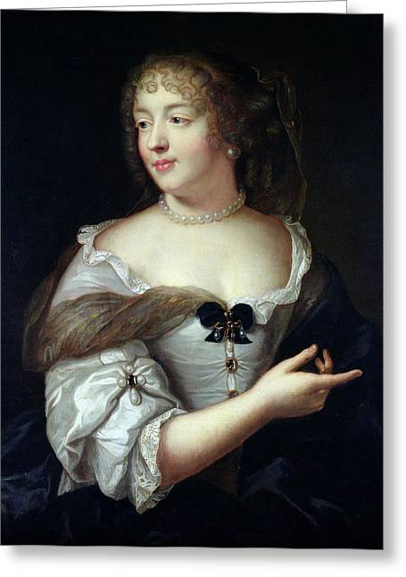 Ringlets Greeting Cards - Portrait Of Marie De Rabutin-chantal, Madame De Sevigne 1626-96 Oil On Canvas Greeting Card by Claude Lefebvre