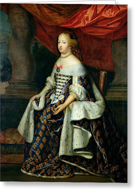Portrait Of Marie-therese 1638-83 Of Austria, After 1660 Oil On Canvas Greeting Card by Charles Beaubrun