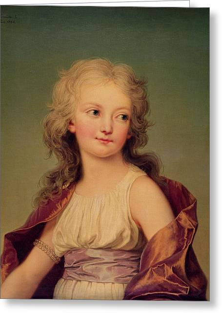 Xvi Greeting Cards - Portrait Of Marie-therese Charlotte Of France 1778-1851 Duchess Of Angouleme, 1786 Oil On Canvas Greeting Card by Adolf Ulrich Wertmuller