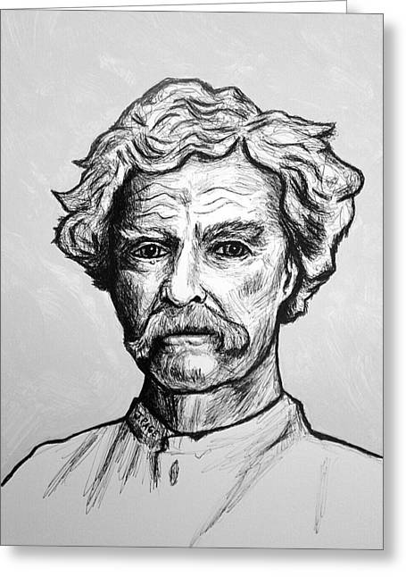 Huckleberry Drawings Greeting Cards - Mark Twain Greeting Card by Jason Page