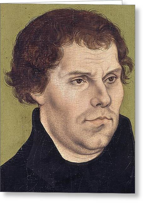 Reform Paintings Greeting Cards - Portrait of Martin Luther aged 43 Greeting Card by Lucas Cranach