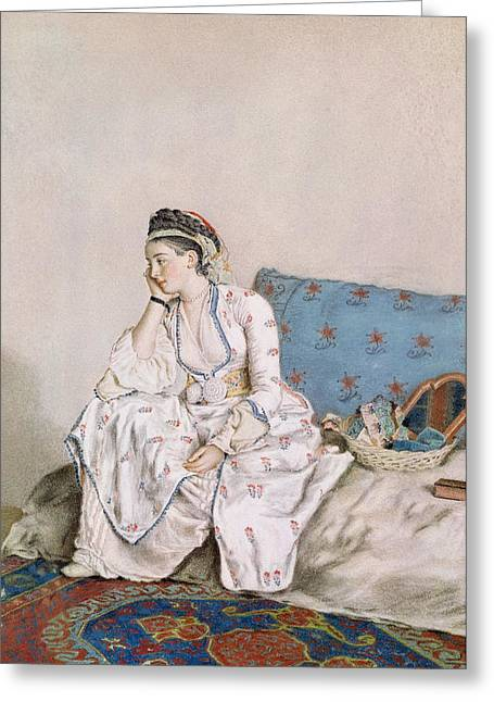 Lost In Thought Paintings Greeting Cards - Portrait of Mary Gunning Greeting Card by Jean-Etienne Liotard