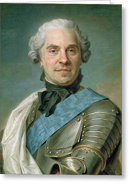Saxony Greeting Cards - Portrait Of Maurice 1696-1750 Comte De Saxe Pastel On Paper Greeting Card by Maurice Quentin de la Tour